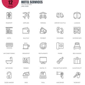 Insieme semplice dei servizi dell'hotel relativi icone di linea di vettore