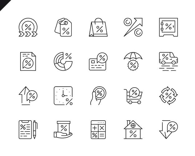 Insieme semplice della linea icone relative di vettore di soldi di prestito.