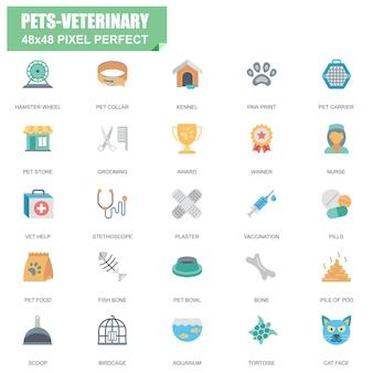 Insieme semplice di animali domestici e icone piane di vettore relativo veterinario