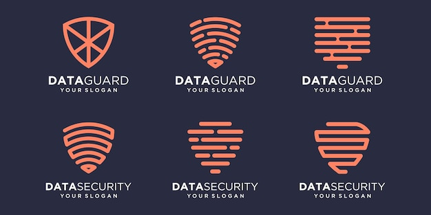Insieme dell'icona di tecnologia scudo semplice, scudo combinato elemento digitale o dati. modello di progettazione del logo