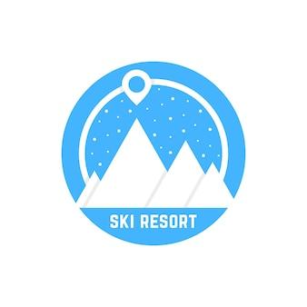 Logo semplice della stazione sciistica. concetto di globo di neve, alpinismo, identità visiva, vacanza, escursionismo, mappa pin, nevicata. isolato su sfondo bianco. illustrazione vettoriale di design moderno logotipo tendenza stile piatto