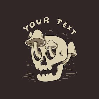 Design semplice della maglietta dell'illustrazione del cranio