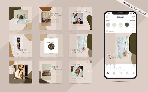 Semplice banner post quadrato di social media per modello di promozione di vendita di moda