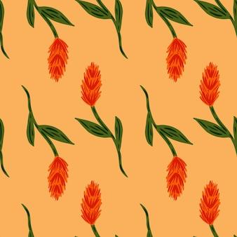 Modello di fattoria senza soluzione di continuità in stile semplice con ornamento rosso doodle spiga di grano. sfondo arancione pastello chiaro. progettazione grafica per carta da imballaggio e trame di tessuto. illustrazione di vettore.