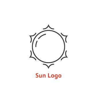 Logo del sole semplice linea sottile. concetto di bagliore, vacanza, turismo, luce bianca, tropicale, orizzonte primaverile, sol, daystar. stile piatto tendenza moderno elemento di design del marchio illustrazione vettoriale su sfondo bianco