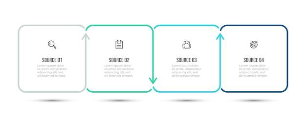 Disegno vettoriale semplice per infografica aziendale. timeline con 4 passaggi o opzioni. .