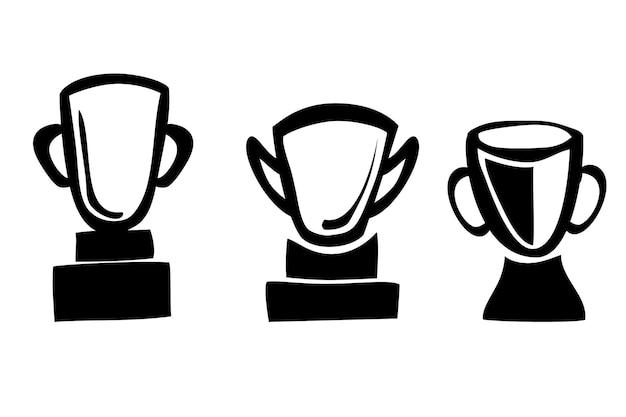 Schizzo di tiraggio della mano di doodle di vettore semplice, 3 trofei, isolato su bianco