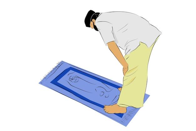 Schizzo di disegno a mano vettoriale semplice, uomo musulmano o islamista, usando maschera, shalat o pregando al tappeto di preghiera