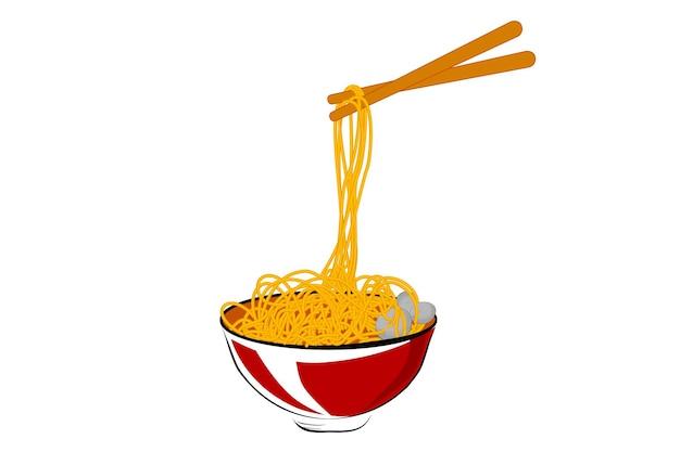 Schizzo di disegno a mano semplice di vettore, polpetta di carne di noodle alla ciotola rossa e bacchette