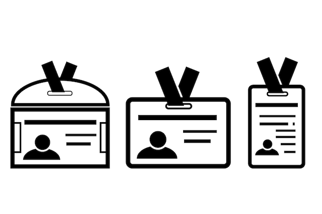 Semplice icona vettoriale, 3 varianti della carta d'identità, isolato su bianco