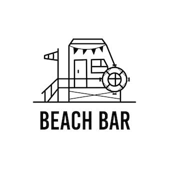 Semplice illustrazione vettoriale del modello di emblema grafico di contorno del bar sulla spiaggia con iscrizione per disegni stampati