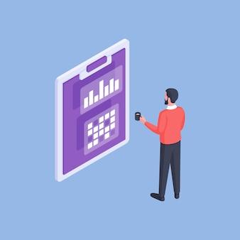Immagine vettoriale semplice di analista maschio formale con una tazza di caffè guardando i grafici e le statistiche negli appunti su sfondo blu