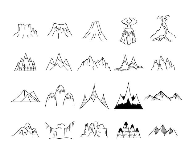 Set di forme di icone semplici montagne vettoriali. kit per la creazione del logo. pacchetto di elementi di montagna di arte di linea di avventura all'aperto. concetto lineare di sagoma. collezione di colline vettoriali stock.