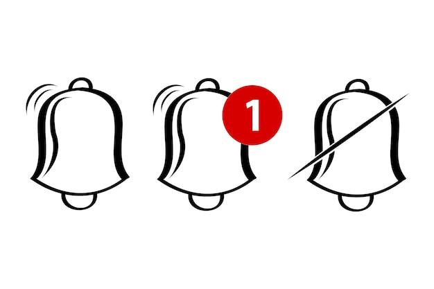 Semplice contorno vettoriale, icona o logo, campanello, suoneria, avviso, notifica, isolato su bianco