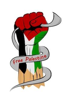 Schizzo vettoriale semplice pugno o pugno, bandiera della palestina e testo arabo che significa palestina