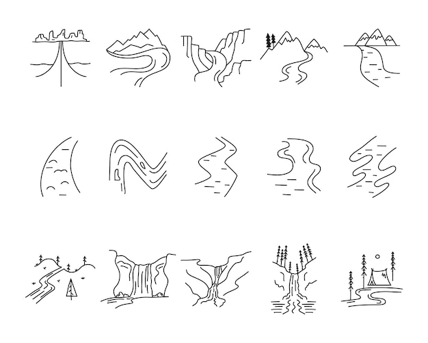 Set di forme di icone vettoriali semplici valli, fiumi e montagne. kit per la creazione del logo. pacchetto di elementi di arte della linea avventura all'aperto. concetto lineare di sagoma. raccolta di vettoriali stock.