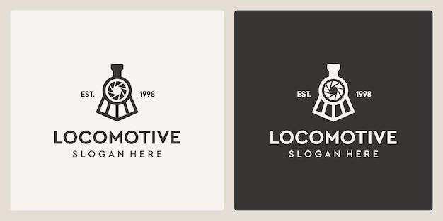 Semplice vecchio treno locomotiva vintage e modello di progettazione di logo di fotografia.