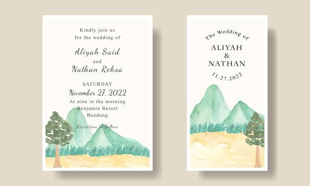 Modello di biglietto d'invito per matrimonio semplice paesaggio di montagna dell'acquerello modificabile