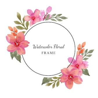 Cerchio di cornice floreale viola rosa acquerello semplice