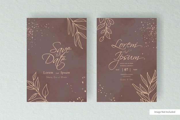 Modello di carta di invito matrimonio semplice acquerello con acquerello liquido dipinto a mano e disegno astratto acquerello splash