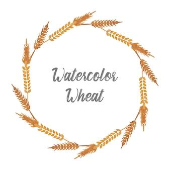 Corona di acquerello di grano semplice