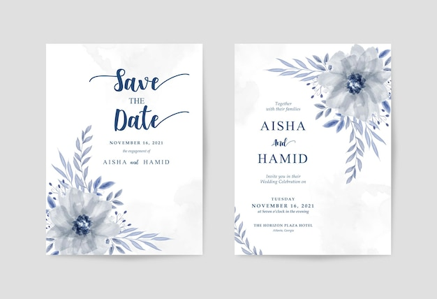 Modello di invito matrimonio semplice bianco con bellissimo acquerello floreale