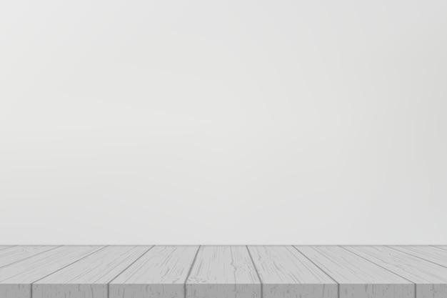 Semplice mensola in legno sul muro bianco
