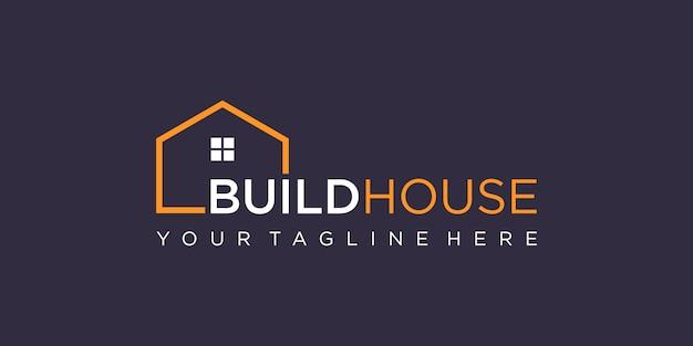 Semplice marchio di parole costruire logo della casa con stile art linea. estratto della costruzione domestica per ispirazione del logo