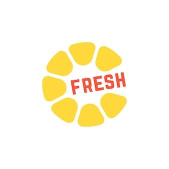 Logo semplice giallo succo fresco. concetto di colazione, tropicale, rotondo cedro, nutrizione, citrico, cucina, caffè. isolato su sfondo bianco. illustrazione vettoriale di design moderno del marchio di tendenza in stile piatto