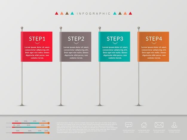 Semplicità design infografico con elementi di bandiere colorate