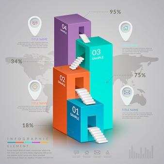 Progettazione del modello infografica semplicità con grafico a barre isometrico 3d