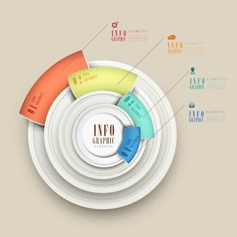 Semplicità infografica modello di progettazione con elementi circolari