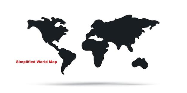Illustrazione vettoriale di mappa del mondo semplificata