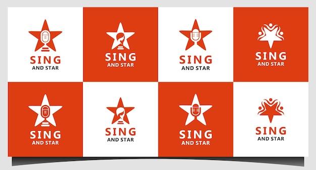 Canta e star logo design vettoriale