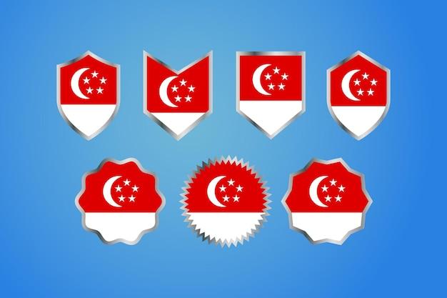 Bandiera del paese di singapore con badge del bordo d'argento