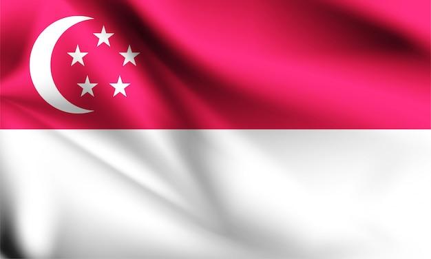 Bandiera di singapore che soffia nel vento. parte di una serie. bandiera sventolante di singapore.