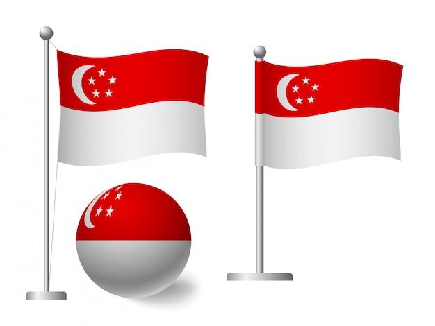 Bandiera di singapore sull'icona palo e palla