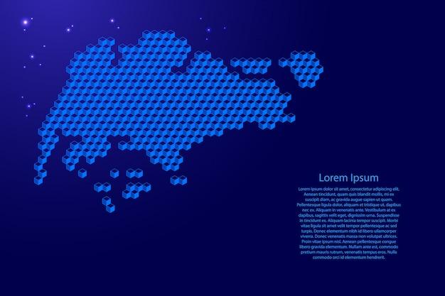 Mappa di singapore dal concetto blu dei cubi 3d