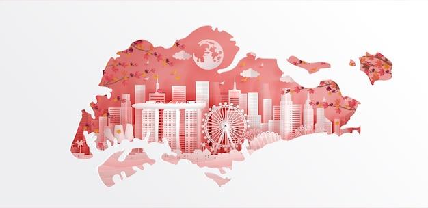 Mappa e punto di riferimento di singapore