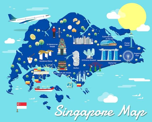 Mappa di singapore con design di illustrazione di punti di riferimento colorati