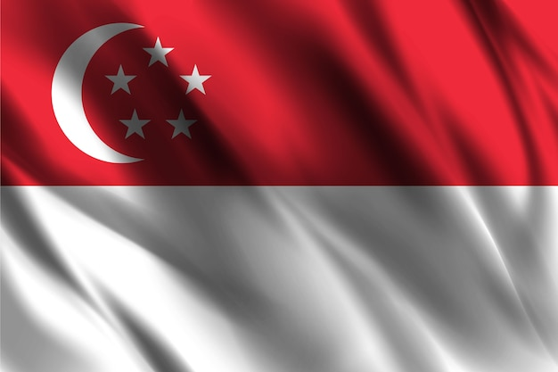 Bandiera nazionale di singapore sventolando sfondo di seta