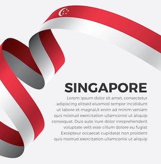 Illustrazione vettoriale di bandiera del nastro di singapore su uno sfondo bianco vettore premium