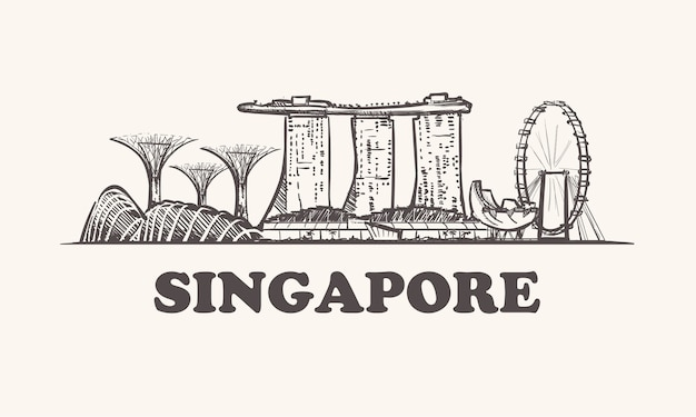 Città di schizzo di singapore