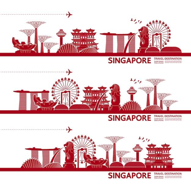 Grande illustrazione della destinazione di viaggio di singapore.