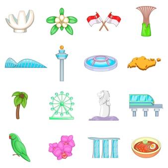 Set di icone di viaggio di singapore