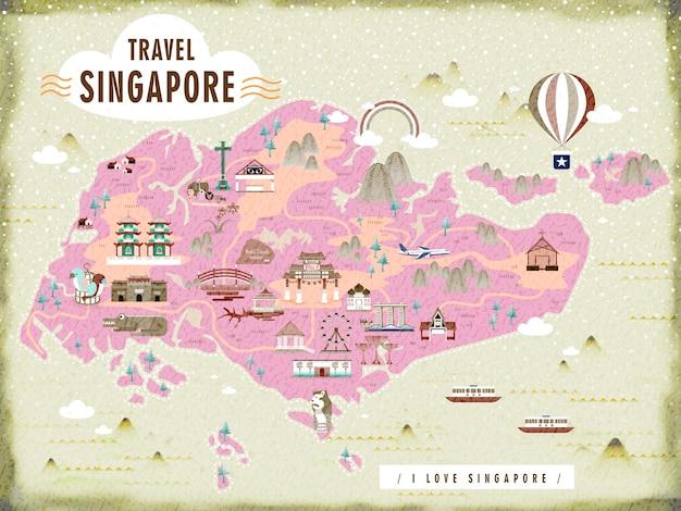 Mappa di viaggio di singapore con incantevoli attrazioni in design piatto
