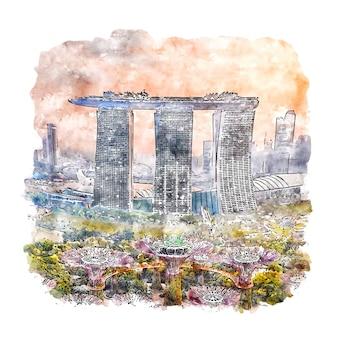 Illustrazione disegnata a mano di schizzo dell'acquerello di singapore