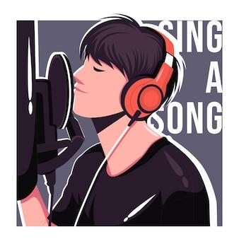 Cantante nell'illustrazione piana di vettore dello studio di registrazione
