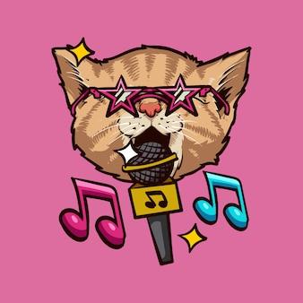Illustrazione di canto del gatto, design dei personaggi