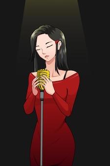 La ragazza che canta indossa l'illustrazione del personaggio del vestito rosso
